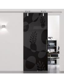 Black transparent glass with Matisse decoration