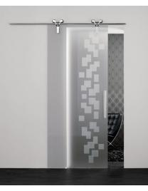 Chrome sliding runners and frosted glass (V1-11) with Modi decoration