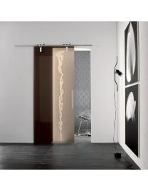 Chrome sliding runners, bronze frosted glass