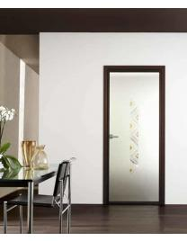 Frame in aluminium covered wenge. Frosted glass with decoration type F