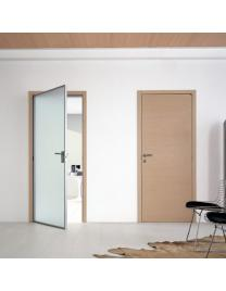 The left door has the jambs and the frame in natural aluminium. Frosted glass, bleached oak. The right door has the jambs in aluminium