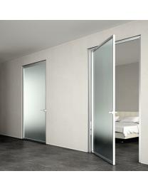 Doors with aluminium finishing frame and frosted glass